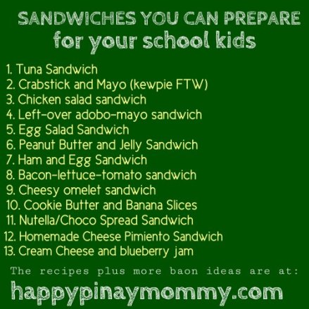 Here are sandwich ideas, which really are just easy baon recipes for filipino kids (and kids at heart).