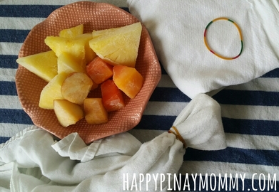 make a DIY frozen fruit mesh feeder