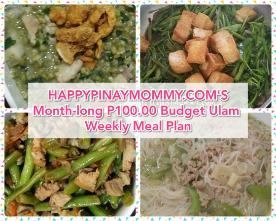 Month-long P100.00 Weekly Filipino Budget Meal Plan Challenge