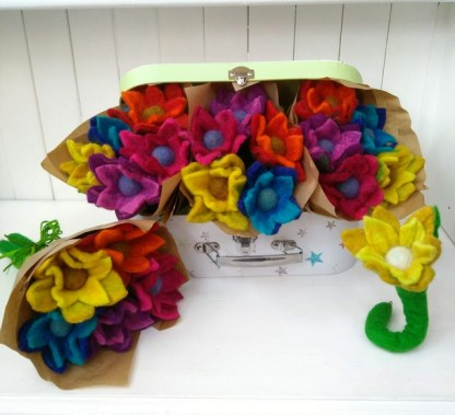 felted flower bouquet
