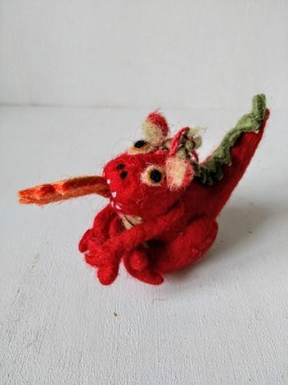 felt dragon red