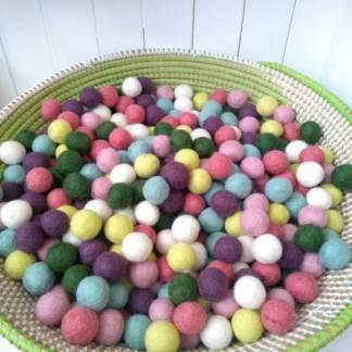 pastel felt balls
