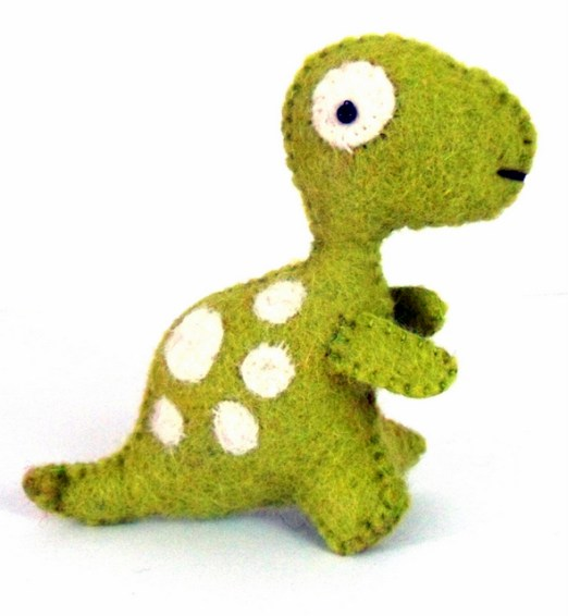 small green white dino