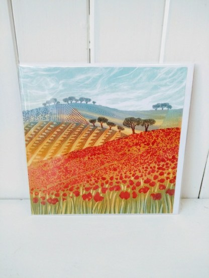 patchwork poppies card