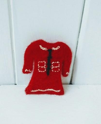 red dress brooch