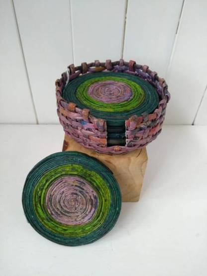 green paper coasters