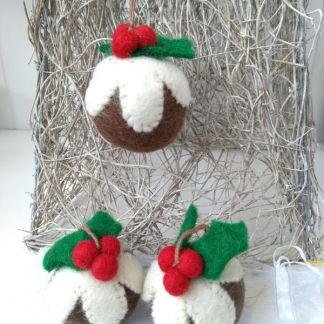 trio of felt puddings