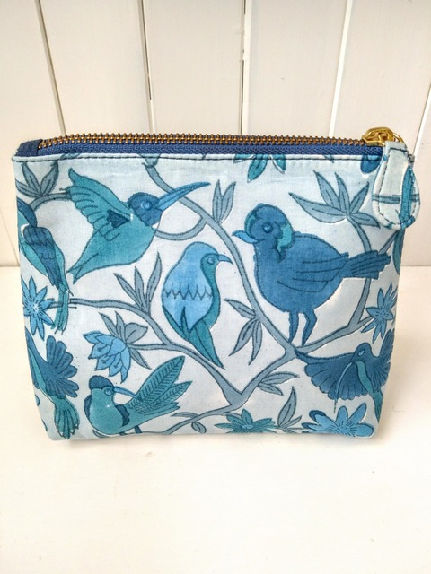 blue hand printed make up bag