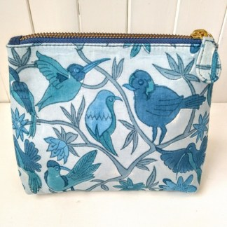 blue hand printed make up bag