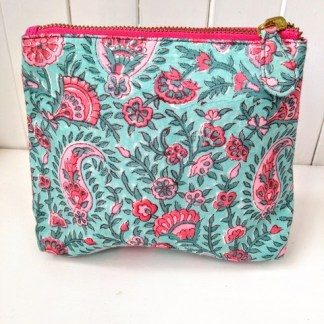 pink printed make up bag