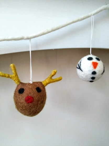 reindeer and snowman close up