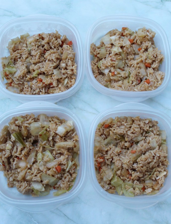 One Pan Vegetarian Egg Roll Fried Rice Meal Prep