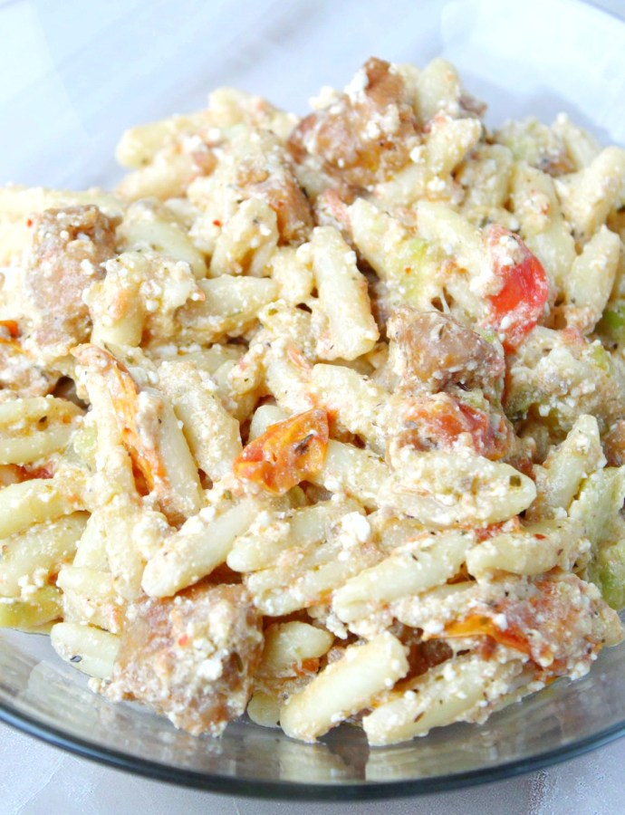 Baked Feta Pasta with Zucchini and Sausage