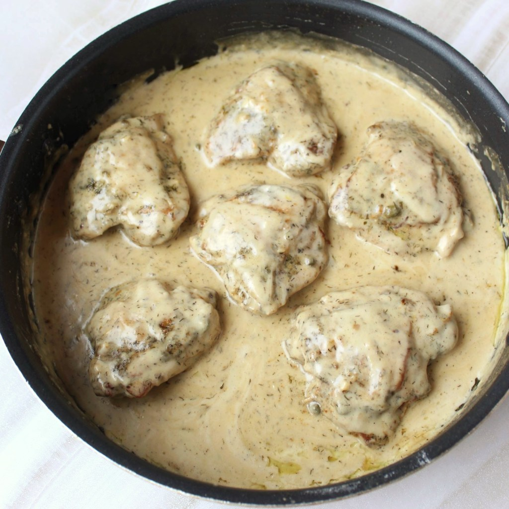 Chicken thighs smothered in a delicious creamy caper sauce