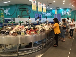 Frozen seafood section