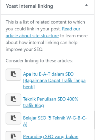 internal link dalam yoast plugin