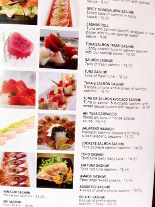 Kanpai's sashimi menu