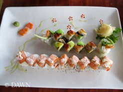 Rolls from Big Catch Sushi in Kingsland Market - Such a pretty plate showing off the Meteor Rain and God of Wind Rolls