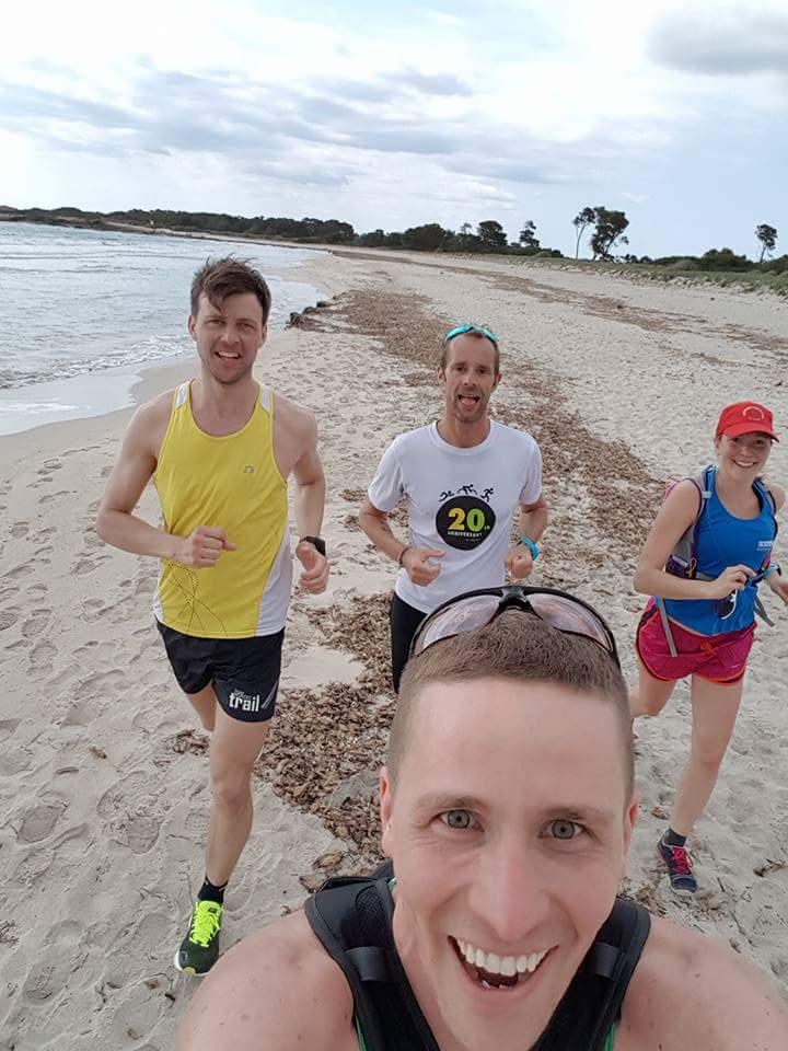 Running in the sand with Erik Froode and Andrew Maclean.