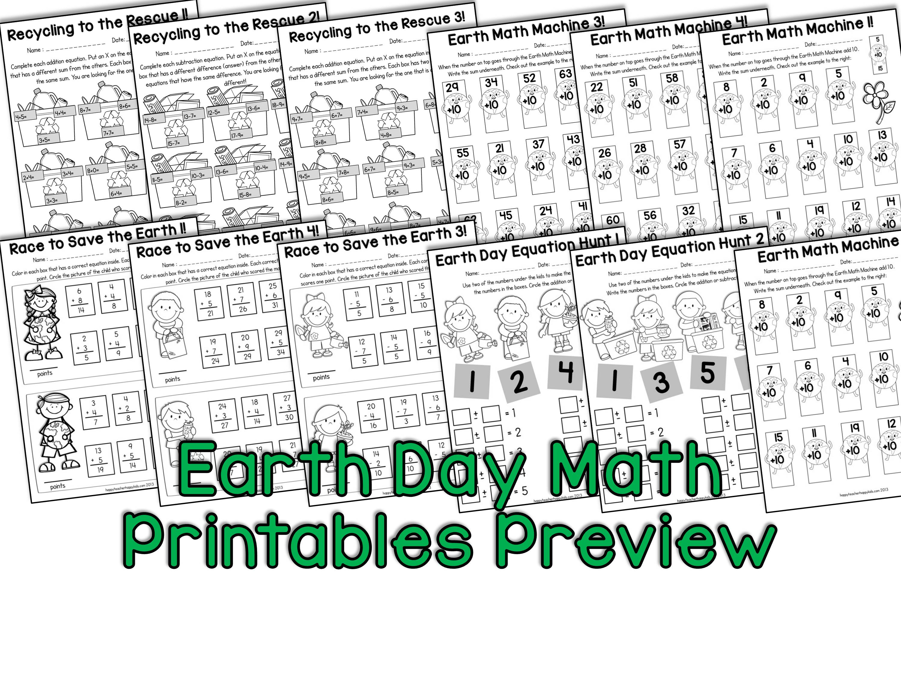 Earth Day Math Printables For Blog Preview
