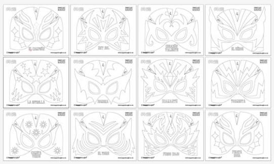 Make your own: 12 printable Lucha libre mask, cuff templates!