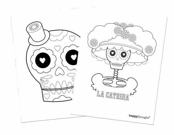 Happythought day of the dead coloring-in worksheets to download!