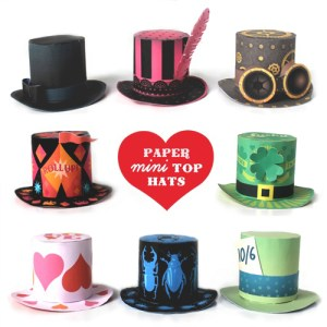 Cute mini paper party top hats to make: St Valentines, St Patrick's, Halloween, Madhatter, Circus and more...
