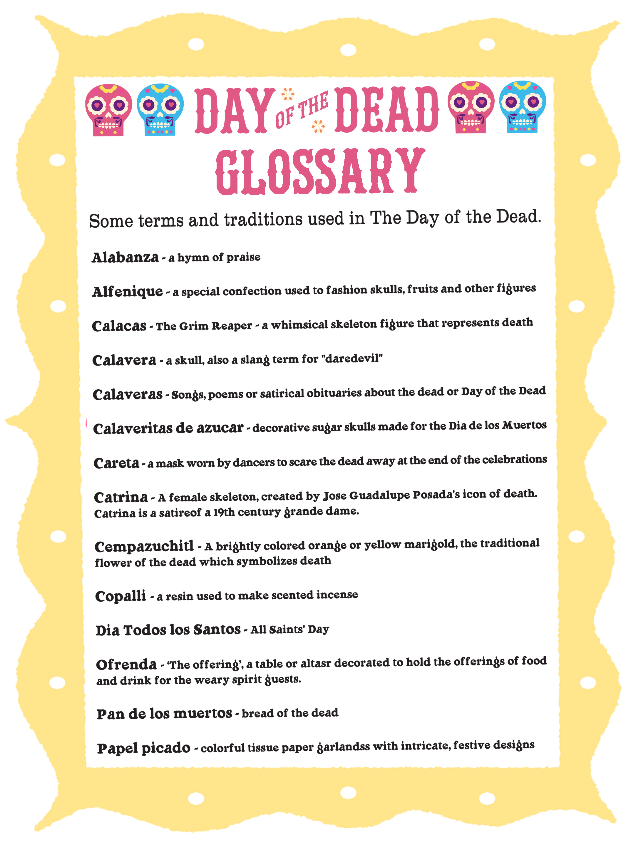 Day Of The Dead Glossary Dia De Los Muertos Terms