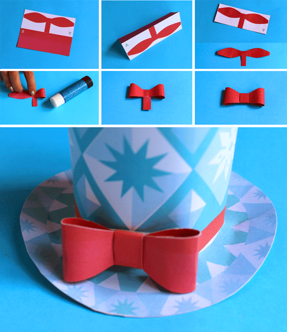 bow for holiday christmas paper hat free
