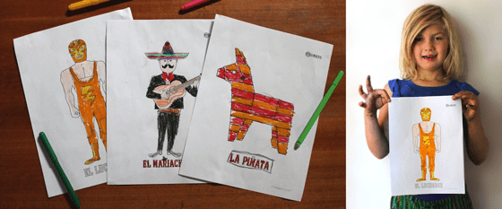 printable worksheets PDFs cinco de mayo color pinata