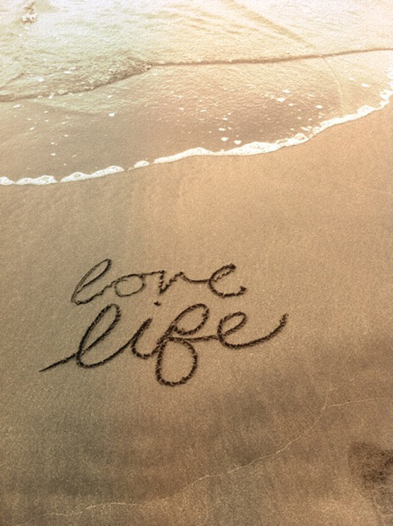 live life beach calligraphy ritoque beach chile