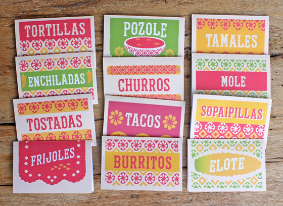 12 food signs with a Mexican flavor