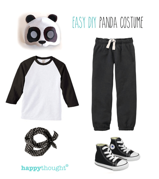 Simple diy mask ideas easy fun dress up animal costume ideas easy throw together panda costume with panda mask solutioingenieria Images