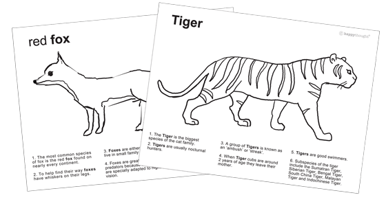 10 Animals to color: Color-in worksheets+ Tiger and fox fact sheets