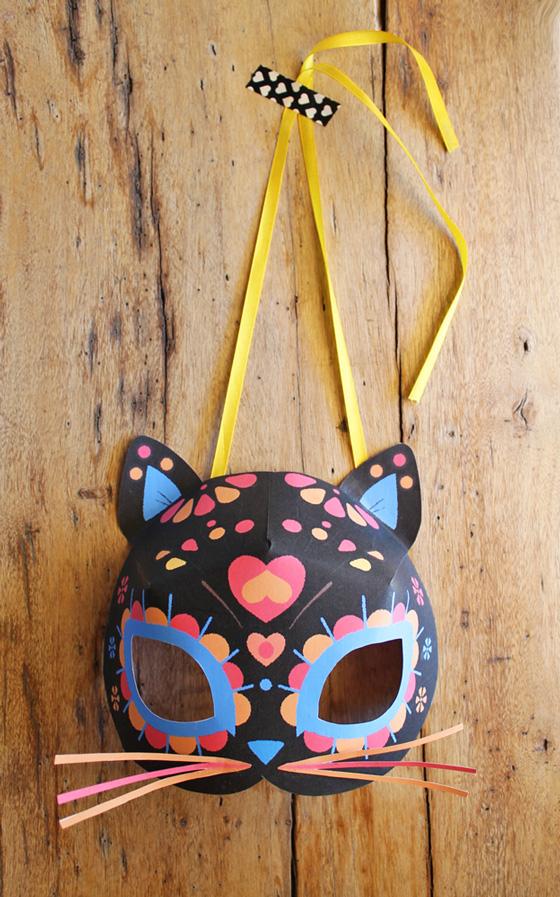 calavera cat mask templates for el Dia los Muertos or Day of the Dead.