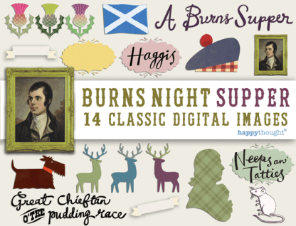 burns night digital scrapbooking images for scottish celebrations