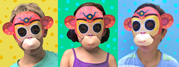 monkey mask template printouts crafts to celebrate chinese new year