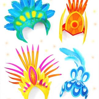 4 carnival crown DIY headpiece papercrafts tutorial step-by-step photo instructions