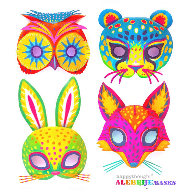 Printable alebrije masks Make DIY jaguar fox owl and