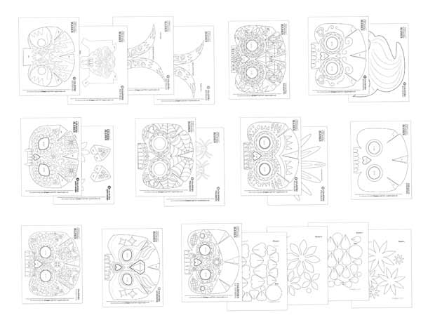 Black and white calavera mask templates to color in and make