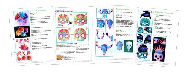 Calavera mask template instructions on making a DIY paper mask for Day of the Dead