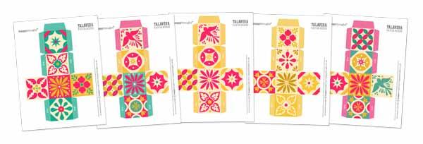 Printable talavera tile templates - Ceramic style ceramica tiles favor boxes