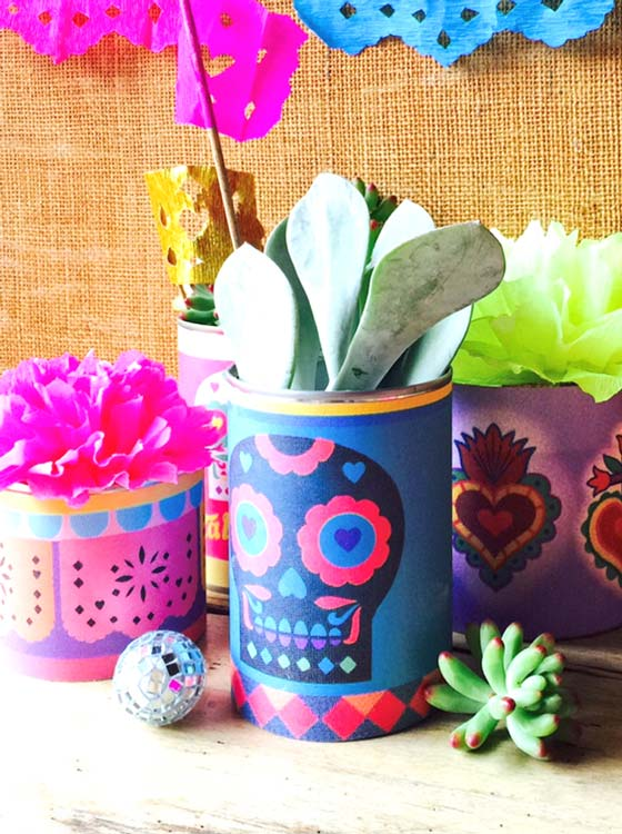 Easy DIY Day of the Dead centerpiece: Tin can labels!
