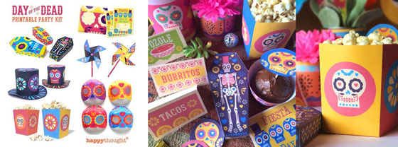 Happythoughts printable party kit for El Dia de los Muertos decorations and papercraft activities!