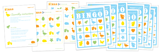 Free printable Easter Bingo game: Download 10 bingo cards, 36 caller cards + instructions.