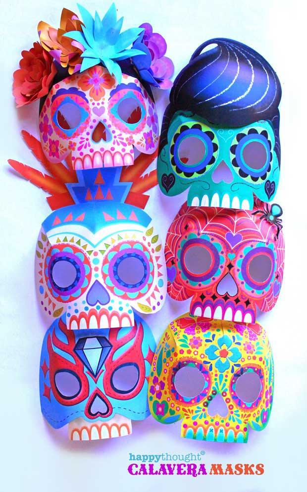 Nine easy to make printable DIY calavera masks: Telaraña, La Catrina, Plumas, Mariposa, Diamante, Gato, Rock n' roll, Bufalo and Luchador.