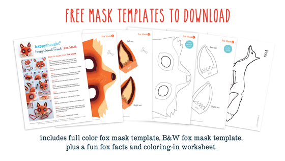 Fox mask template printouts crafts to dress up parties for Fantastic mr fox mask template