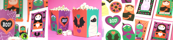 Spooky Halloween papercraft party decorations. Homemade party ideas templates, activities, patterns and cutouts