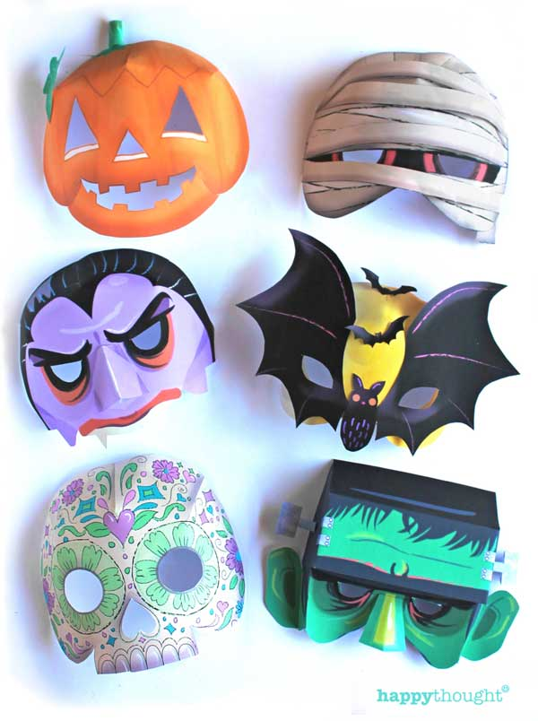 Halloween pumpkin, vampire, calavera, mummy, bat and frankenstein. Paper mask templates for printing.
