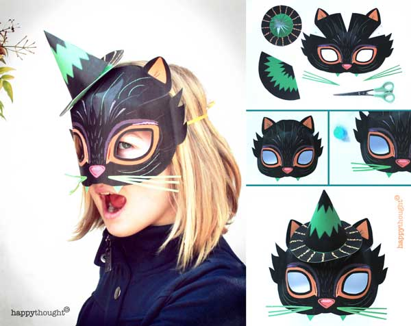 How to make a DIY witch hat and cat mask for costume parties  sc 1 st  Happythought & Printable Halloween masks. Download easy to make mask templates now!